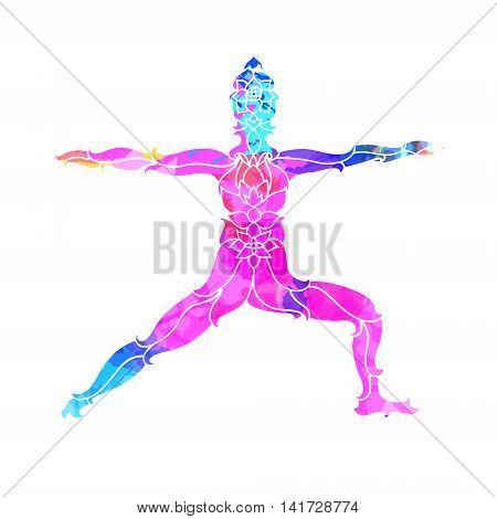 decorative colorful yoga pose.Yoga concept. Decorative design for cover, t-shirt, hippie poster, flyer.