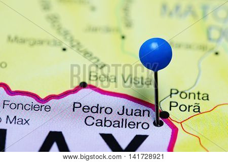 Pedro Juan Caballero pinned on a map of Paraguay