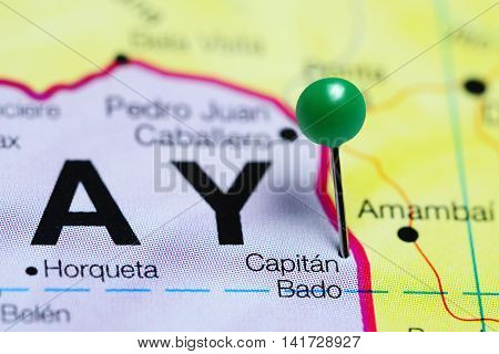 Capitan Bado pinned on a map of Paraguay