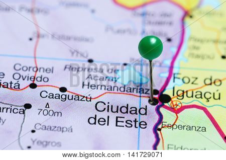 Ciudad del Este pinned on a map of Paraguay