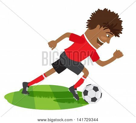 Vector illustration Funny African American soccer football player wearing red t-shirt running kicking a ball and smiling