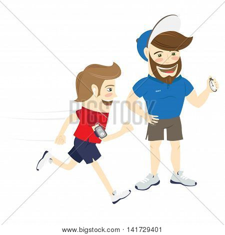 Vector illustration Bearded fitness personal trainer instructor and funny sportsman running and listening music. Flat style
