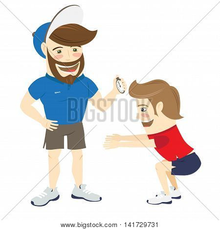 Vector illustration Bearded fitness personal trainer instructor and funny sportsman doing squats