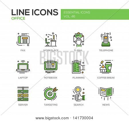 Set of modern vector office line design icons and pictograms. Fax, workplace, e-mail, telephone, laptop, notebook, planning, coffee break, server targeting search news
