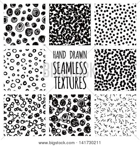 Set of seamless hand drawn irregular uneven black and white textures, vector illustration