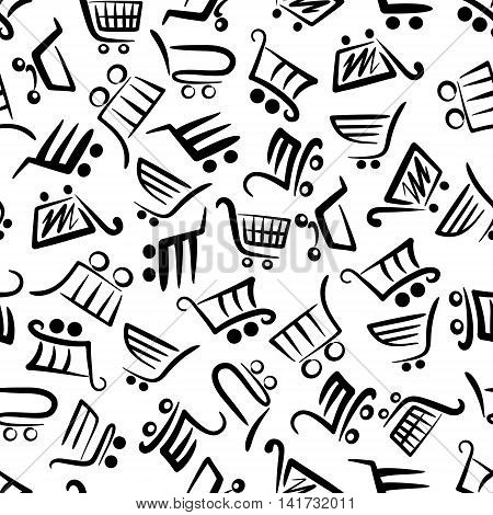 Black and white pattern of shopping carts for season of sales and retail themes design with seamless background of supermarket trolleys symbols in flowing lines