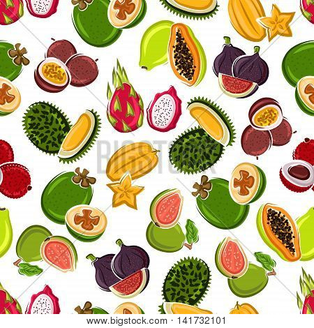 Bright cartoon exotic fruits background for kitchen interior or food packaging design usage with seamless pattern of carambola, lychee, passion fruits and feijoa, papaya, figs, dragon fruits, guavas and sweet durians fruits