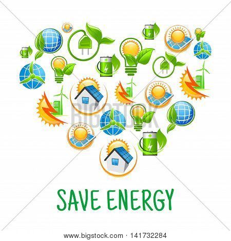 Eco friendly house and city with solar panel and wind turbine, light bulb and battery with sun and leaf, earth globe wrapped by green stem icons combined into silhouette of a heart