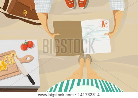 Back to school. Son shows the evaluation mother. Vector illustration EPS 10.