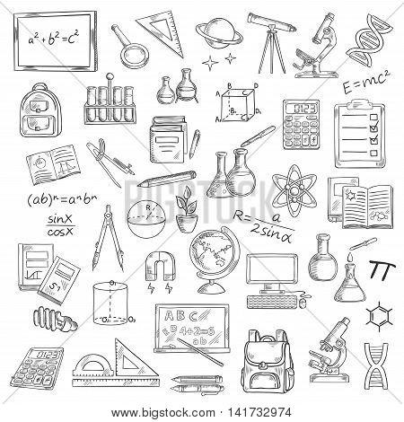 School supplies sketches of book, blackboard, pencil, calculator, microscope, laboratory flask, globe, computer, backpack, telescope formula DNA atom planet light bulb compasses ruler