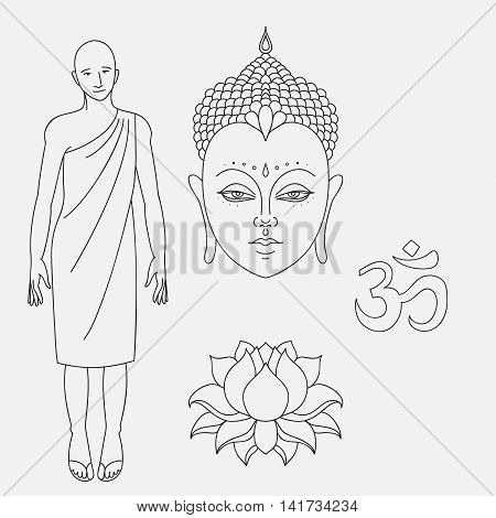 Head of Buddha. Om sign. Outline buddhist monk. Hand drawn lotus flower. Isolated icons of Mudra. Beautiful detailed, serene. Vintage decorative elements. Indian, Hindu motifs.