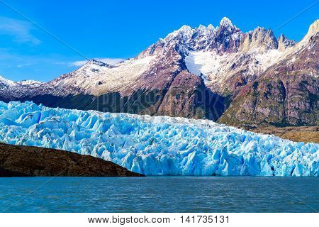 Grey Glacier at the Grey Lake in southern patagonia ice field Chile