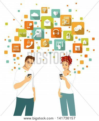 Young man and woman couple standing together and using modern mobile smart phone