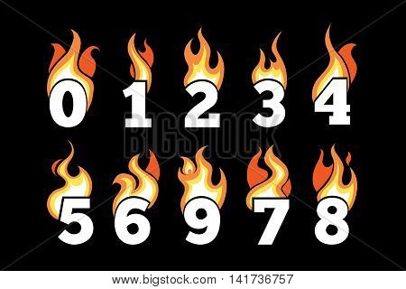 vector icons set of Flaming Numbers. Pictures isolate on dark background. Illustrations for your personal emblems or logo design
