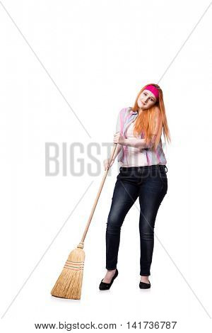 Funny woman with mop isolated on the white background