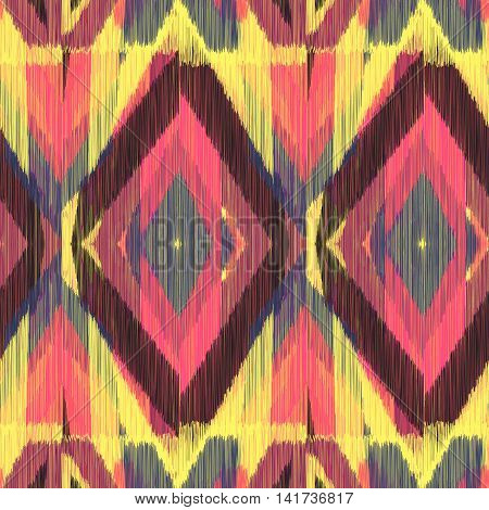 Seamless Ikat Pattern with a bright geometrical ornament. Abstract background for textile design wallpaper surface textures wrapping paper.