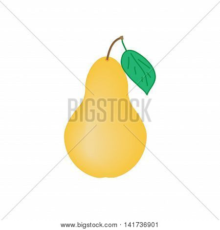 Sign pear. Fruit icon isolated on white background. Yellow organic food with green leaf symbol. Healthy concept. Trendy eco vegetarian plane mark. Agriculture logo. Stock vector illustration