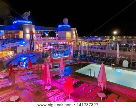 Barselona, Spaine - September 09, 2015: Royal Caribbean, Allure of the Seas sailing from Barselona on September 6 2015. The second largest passenger ship constructed behind sister ship of Oasis of the Seas. The upper deck of a ship