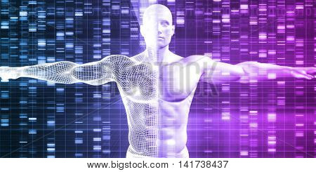 Genetics with Science Data as a Futuristic Concept 3d Render