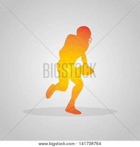 American football player in polygonal style on a gray background