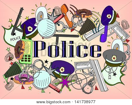 Vector line art Doodle set of cartoon characters and objects police.