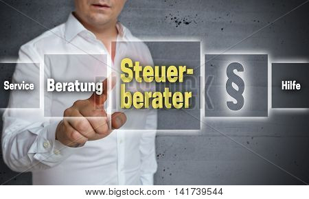 Steuerberater (in German Tax Consultant, Advice, Help) Touchscreen Concept Background