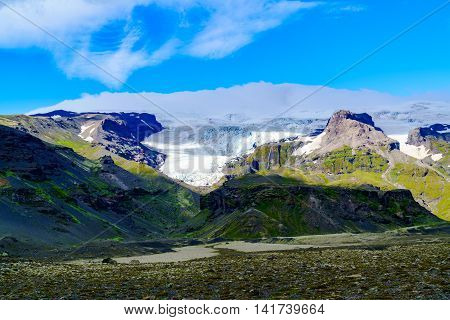 View of Vatnajokull or Vatna Glacier the largest and most voluminous ice cap in Iceland