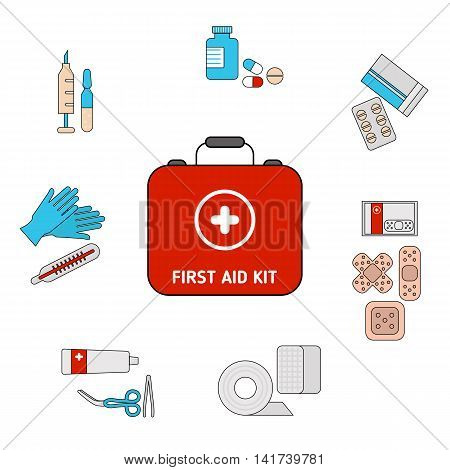 First aid kit concept. First aid kit box with medical equipment and medications for emergency.