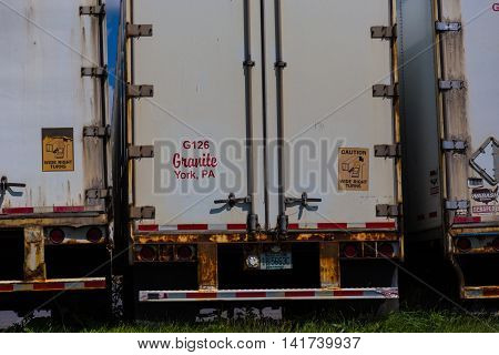 Lancaster PA - August 7 2016: Parked semi-trailers ready for dispatch to deliver cargo.