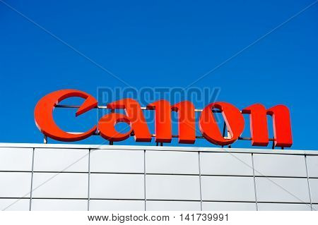 VILNIUS, LITHUANIA - AUGUST 7, 2016:Canon logo. Canon Inc. is a Japanese multinational corporation specialized in the manufacture of imaging and optical products, including cameras.