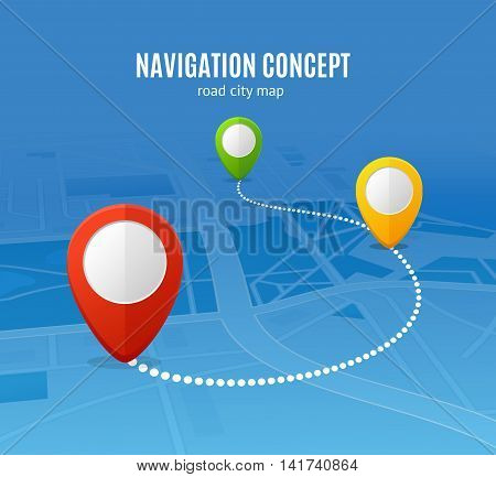 Navigation Concept Road City Map. Distance on the Way. Vector illustration