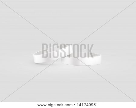 Blank white rubber wristband mockup clipping path 3d illustration. Clear sweat band stack mock up design. Sport sweatband pile template. Silicone fashion round social bracelet. Unity band.