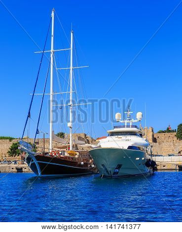 Luxury Yacht docked at Rhodes Port, Greece, sunny