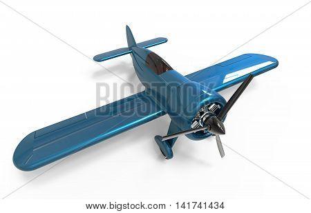 Propeller small plane isolated on white. 3D render