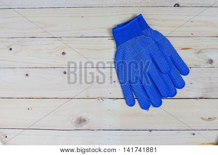 Blue Gloves On Wooden Background