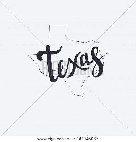 Texas Brush Lettering And Silhouette Map Of Texas On A Grey Background. Vector Illustration. Isolate