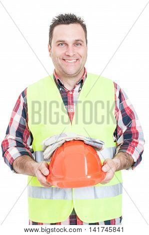 Cheerful Male Constructor Holding Helmet And Gloves