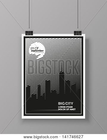 Big City vector template poster isolated on grey wall. Modern flyer design. Vector illustration
