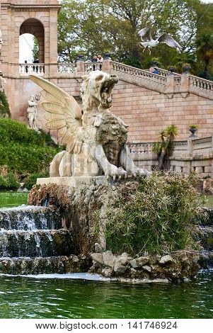 Barcelona Spain - April 4 2016: Fragment of The Cascada fountain built on 1888. Fountain located in the Ciutadella Park one of the finest parks in Barcelona. Spain