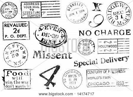 Variety Of Vintage Postal Marks