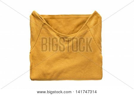 Folded yellow sweatshirt isolated over white background
