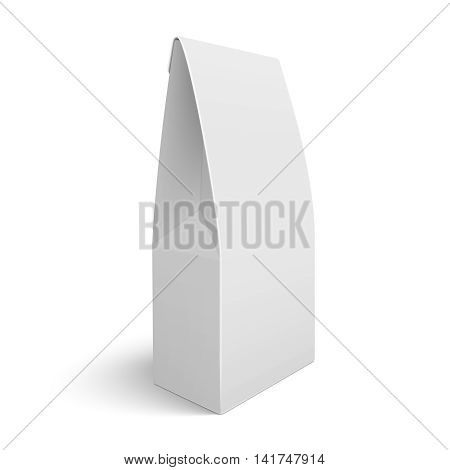 White blank paper or cardboard package bag template. For coffee, tea, sweets. Packaging collection. Vector illustration. EPS10.