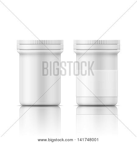 Template of white plastic bottle with cap for medicine, pills, tabs. Packaging collection. Vector illustration. EPS10.