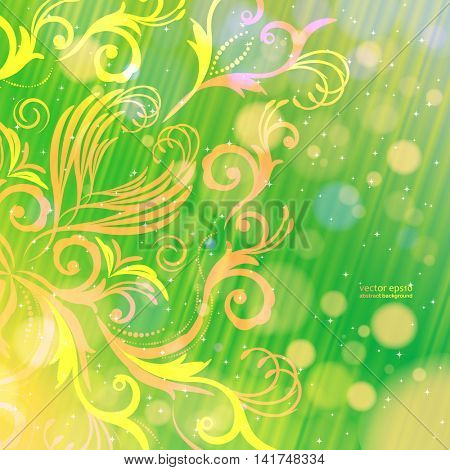 Vector abstract floral pattern on a green background with bokeh. Magical fantasy flowers design card.