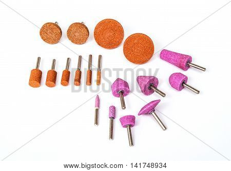 Grinding and polishing bits set on white background