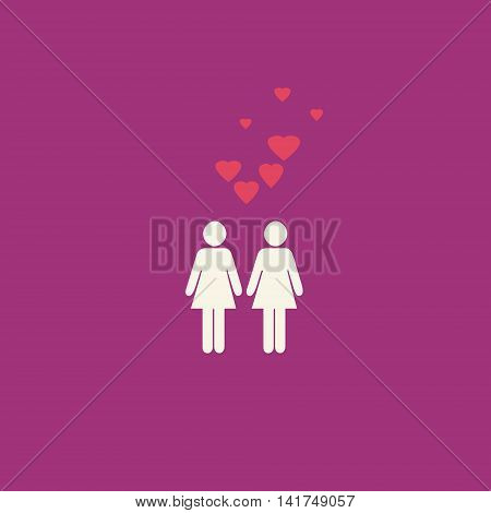 Simple gay lesbian graphic with two female figures and pink hearts on purple pink background.