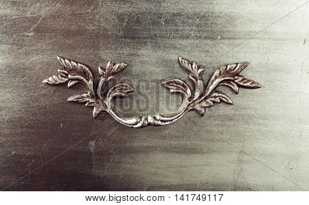 Gray Brushed Metal texture with art floral element