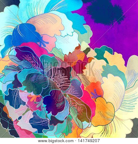 Abstract colorful watercolor floral retro unusual pattern