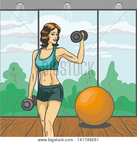 Woman with barbell vector illustration in retro pop art style. Sport fitness concept comic poster. Girl with slim body in gym.