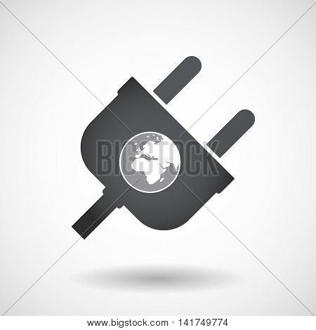 Isolated Male Plug With   An Asia, Africa And Europe Regions World Globe